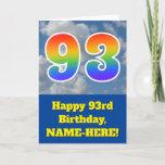 "[ Thumbnail: Cloudy Blue Sky, Rainbow Pattern ""93"" Birthday # Card ]"