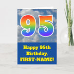 "[ Thumbnail: Cloudy Blue Sky, Rainbow Pattern ""95"" Birthday # Card ]"