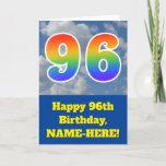 "[ Thumbnail: Cloudy Blue Sky, Rainbow Pattern ""96"" Birthday # Card ]"