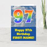 "[ Thumbnail: Cloudy Blue Sky, Rainbow Pattern ""97"" Birthday # Card ]"