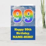 "[ Thumbnail: Cloudy Blue Sky, Rainbow Pattern ""99"" Birthday # Card ]"