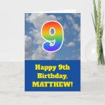"[ Thumbnail: Cloudy Blue Sky, Rainbow Pattern ""9"" Birthday # Card ]"
