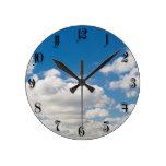 Cloudy blue sky round clocks