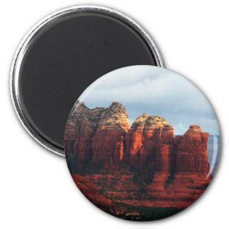 Cloudy Coffee Pot Rock Sedona Arizona Photography 2 Inch Round Magnet