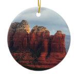 Cloudy Coffee Pot Rock Sedona Arizona Photography Double-Sided Ceramic Round Christmas Ornament