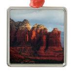 Cloudy Coffee Pot Rock Sedona Arizona Photography Square Metal Christmas Ornament