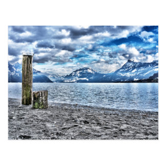 Cloudy day at lake lucerne postal