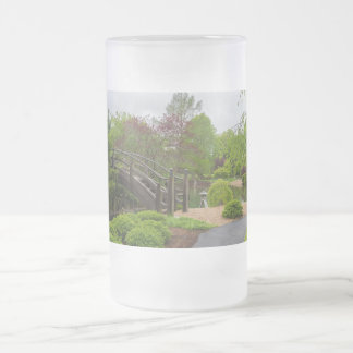 Cloudy Day Garden Stroll Frosted Glass Beer Mug