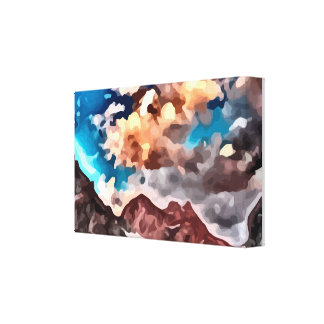 cloudy day mountain peak painting. canvas print