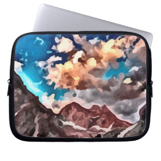 cloudy day mountain peak painting. computer sleeve