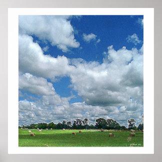 Cloudy Hay Field Print