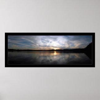 Cloudy Lake Sunset Poster
