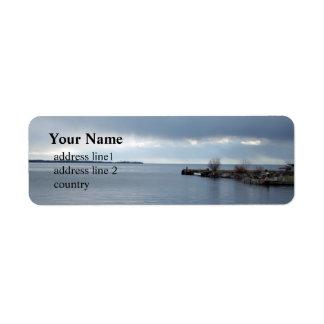 cloudy  lake waterfront, Kingston, Ontario, Canada Label