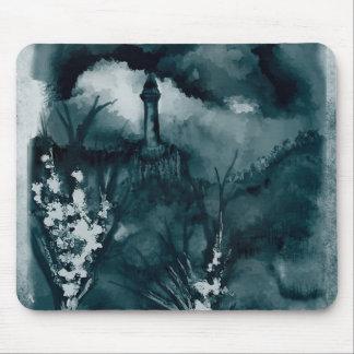 Cloudy Landscape Blue Green Mouse Pad