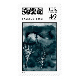 Cloudy Landscape Blue Green Stamp