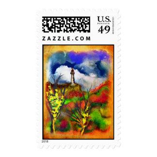 Cloudy Landscape Colors Postage