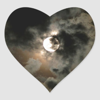 Cloudy Moon Heart Sticker