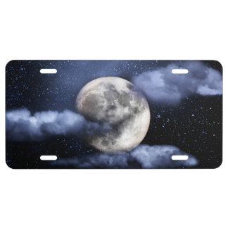 Cloudy Moon License Plate