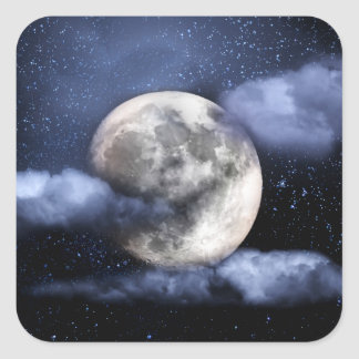 Cloudy Moon Square Sticker