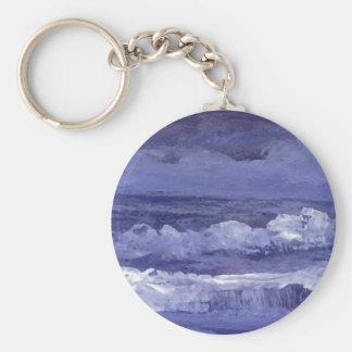 Cloudy Night Sea - CricketDiane Ocean Art Basic Round Button Keychain