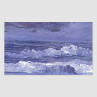Cloudy Night Sea - CricketDiane Ocean Art Rectangular Sticker