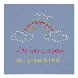Cloudy Rainbow 5.25x5.25 Square Paper Invitation Card