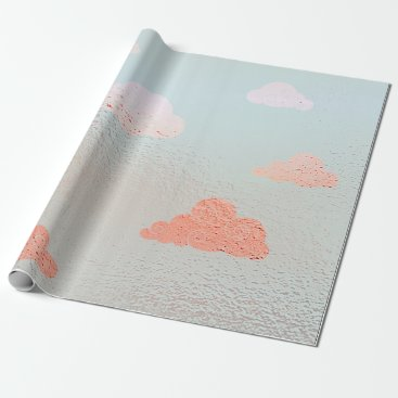 McTiffany Tiffany Aqua Cloudy Sky Mint Candy Peach Metallic Blue Wrapping Paper