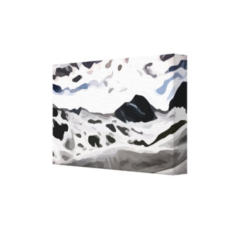 cloudy sky snowy mountain painting canvas print