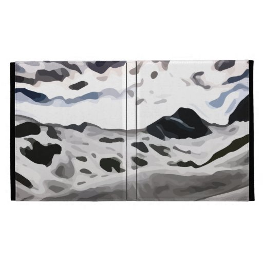 cloudy sky snowy mountain painting iPad folio case