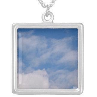 Cloudy Sky Square Pendant Necklace