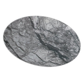 Cloudy Slate Black Streaked marble stone finish Dinner Plate