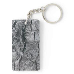 Cloudy Slate Black Streaked marble stone finish Keychain