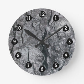 Cloudy Slate Black Streaked marble stone finish Round Clock
