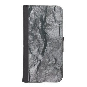 Cloudy Slate Black Streaked marble stone finish Wallet Phone Case For iPhone SE/5/5s