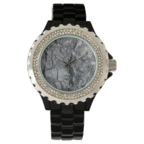Cloudy Slate Black Streaked marble stone finish Wristwatch