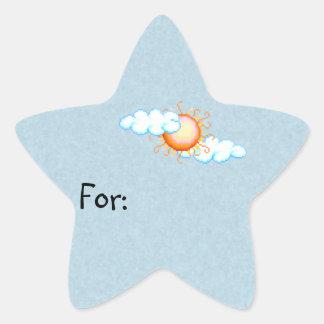 Cloudy Sun Gift Tag Star Sticker