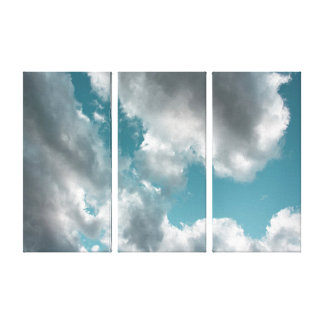Cloudy Turquoise Sky Triptych Art Canvas Print
