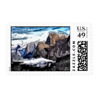 Cloudy Valley painting Stamp