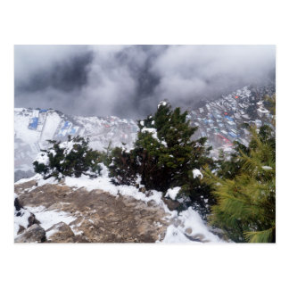 Cloudy View of Namche Bazaar Mountain Town Postcard