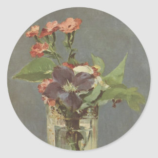 Clove and clematis in a crystal vase - Manet Classic Round Sticker