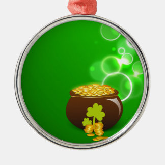 Clover and pot of gold on green background metal ornament