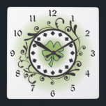 """Clover and Vines Green, Black and White Irish Square Wall Clock<br><div class=""""desc"""">~Clover and Vines Green,  Black and White Irish Wall Clock</div>"""