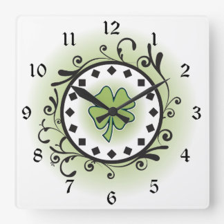 Clover and Vines Green, Black and White Irish Square Wall Clock