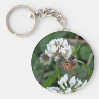 Clover bee basic round button keychain