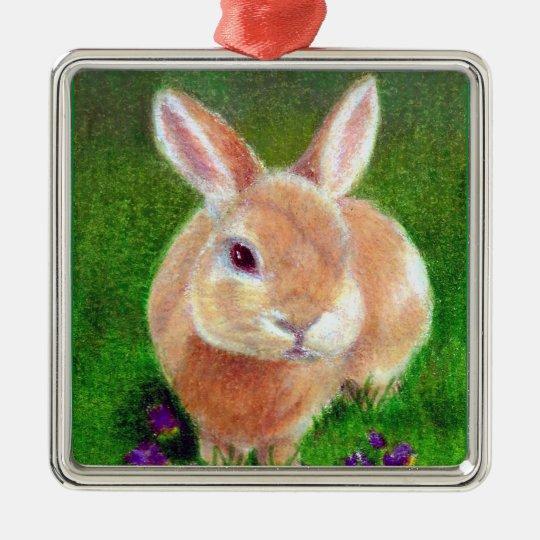 Clover Bunny Metal Ornament