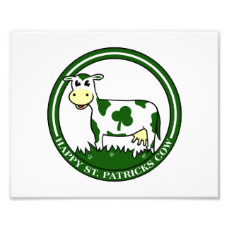 Clover cow st patrick day text graphic.png photo print