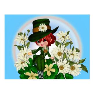 Clover Daisy Patty Leprechaun Postcard