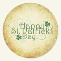Clover Design Happy St Patricks Day Classic Round Sticker