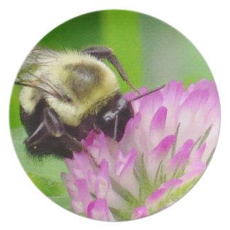 Clover Flowers Floral Bumblebee Garden Dinner Plate