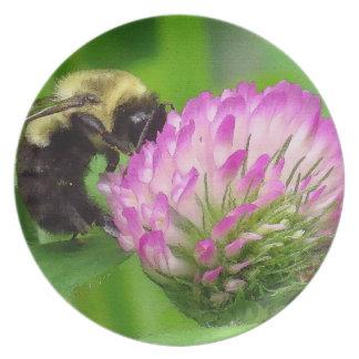 Clover Flowers Floral Bumblebee Garden Melamine Plate
